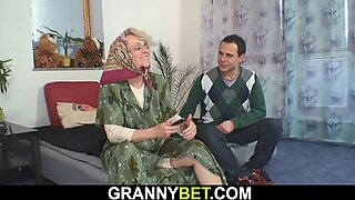 He screws lonely 60 years aged blonde grandmother neighbor