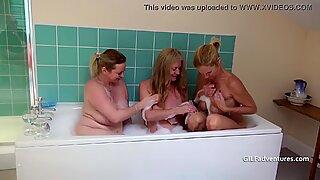 Three British matures take a bath together