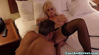 Busty blonde milf gets her pussy licked