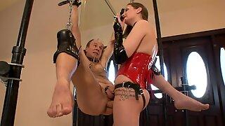 youthfull dominatrix strap dildo Fucks Old Tied Up Slave (Femdom)