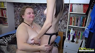 OldNannY Horny Teen and Busty Mature Strapon