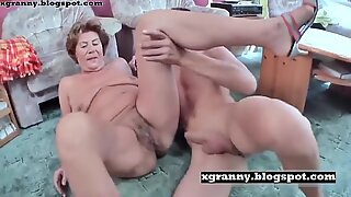 Grandma sex with boy and ass fucked