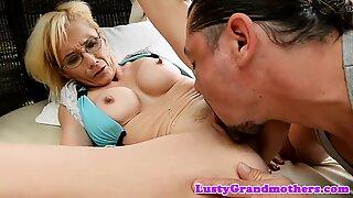 Spex granny loves getting anally banged