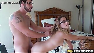 Amateur with glasses banged 2