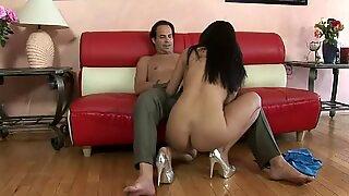 Vicki Chaser giving her boyfriend blowjob