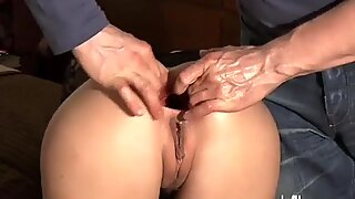 Fisting his girlfriends gaping ass hole