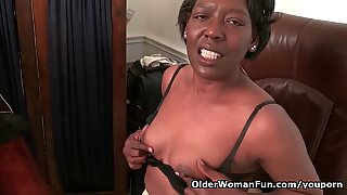 Office granny Amanda strips off and plays