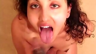 point of view Indian couple blowjob and cum in gullet / swallow