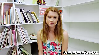 Pretty teenie POV pounded at a library