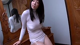 Busty Korean babe shows her awesome big boobs on camera