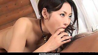 Gorgeous Asian brunette passionately sucks and rides a hairy boner