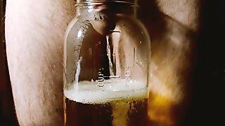 Straight hairy guy fills mason jar with quart of piss