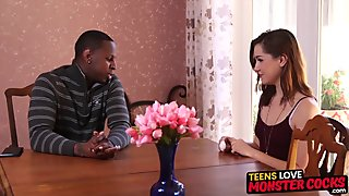 Young babe gets interracial smashing from her hung boss
