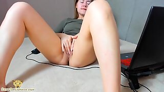 Cute Camgirl Passionate Fingering and Intensive Orgasm