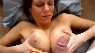 Hot busty mom takes a cumshot