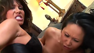 Busty sluts Ava Divine and Kitty Langdon get ass fucked